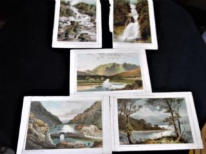 5 X ANTIQUE UNFRAMED COLOUR PRINT CARDS NELSON & SONS SCENES OF KILLARNEY